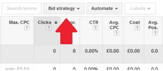 Select your chosen AdGroups and then bid strategy.