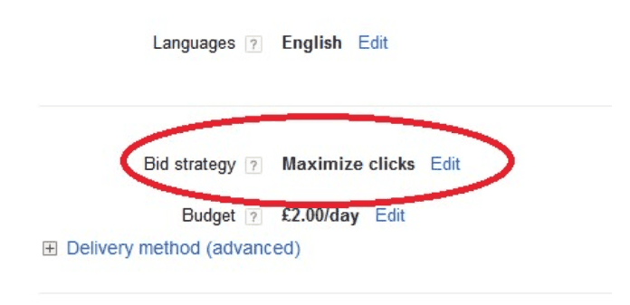 Scroll down to bid strategy and click edit.