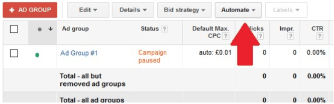 Tick your chosen AdGroup or groups to which you wish to apply your rule based bid strategy. Then select Automate.