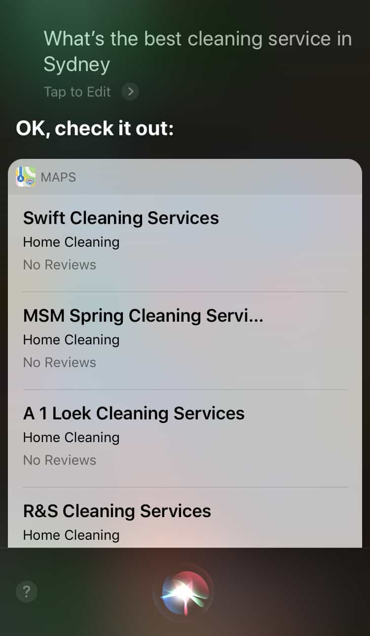 Siri - Cleaning Services