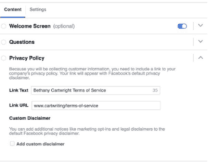 Add A Privacy Policy And Legal Disclaimers