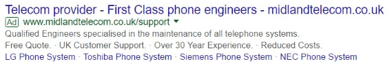 An Adwords Ad With Both Callouts And Sitelinks