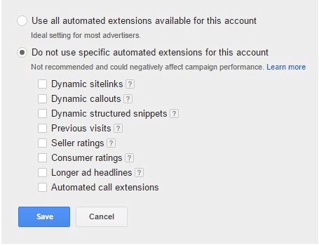 Do Not Use Specific Automated Extensions For This Accoun